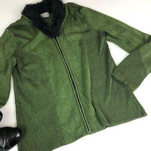 Sigrid Olsen Fuzzy Green Zip Up Knit Cardigan M